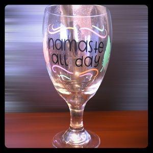 Handmade Namaste all day wine glass